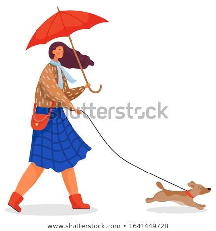 Сток-фото: �олодая · женщина · на · открытом · воздухе · в · осенний · пейзаж, · держа · собаку