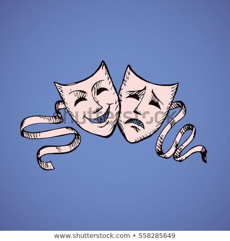 üzücü maske mutsuz gizlemek tiyatro mavi Stok fotoğraf © robuart