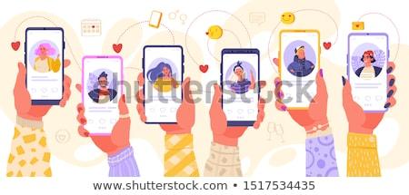 Aplikacja ludzi dating app telefonu zestaw Zdjęcia stock © robuart