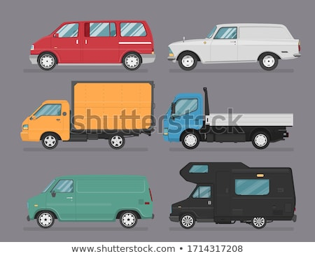 Set of vehicles pickup truck, Hatchback, suv and sedan in side view.  Stock photo © Ipajoel
