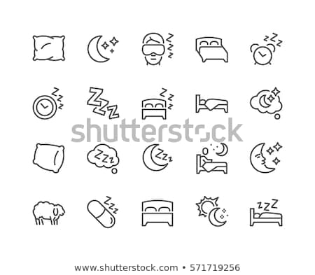 Motel Comfortable Double Bed Vector Thin Line Icon Stock photo © pikepicture