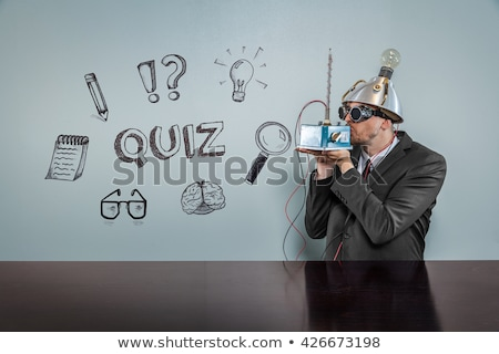 Kissed businessman with question sign concept Stock photo © ra2studio