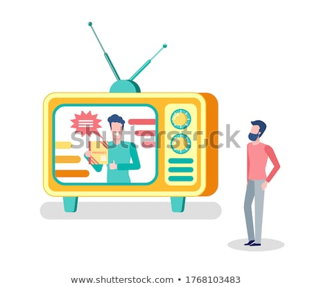 Host on Show Advertising Product on TV Mass Media Stock photo © robuart