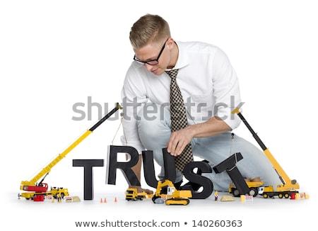 Inşa etmek yukarı güven işadamı Bina dostça Stok fotoğraf © lichtmeister