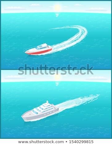 Taşımacılık yelkenli ufuk çizgisi vektör ikon vapur Stok fotoğraf © robuart