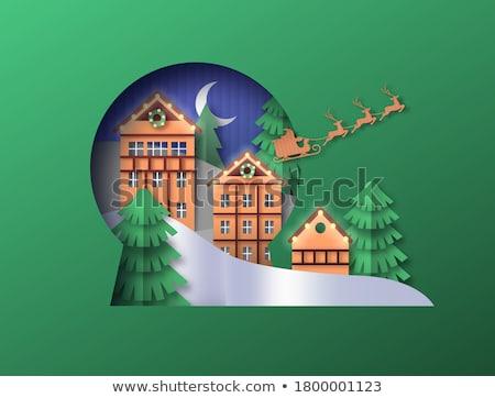sneeuw · wereldbol · stad · sneeuwvlokken · huis · stad - stockfoto © cienpies