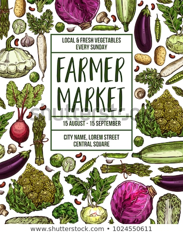 farmers market poster template of green vegetables stock photo © cienpies