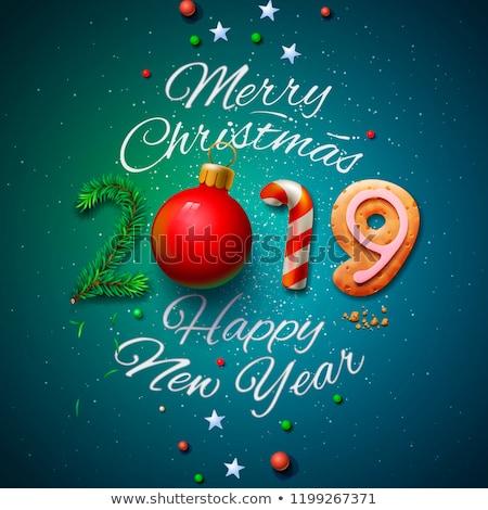 Christmas nieuwjaar kaart pijnboom geschenken vrolijk Stockfoto © cienpies