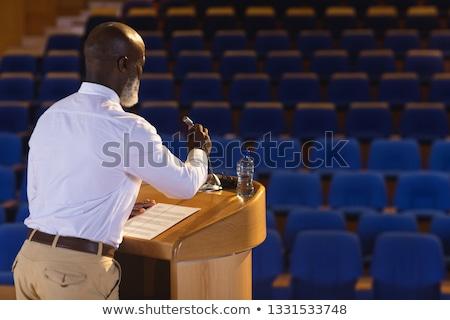 Vue de côté affaires discours vide auditorium Photo stock © wavebreak_media