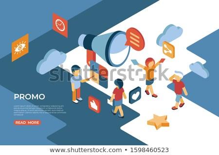 Promo isometrische iconen digitale vector mensen Stockfoto © frimufilms