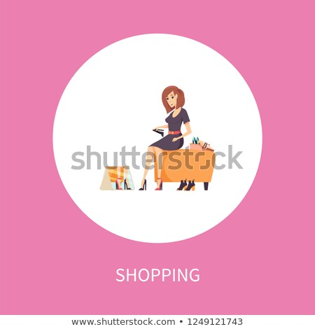 Lady Wearing New High Heels, Purchasing Vector Stock photo © robuart
