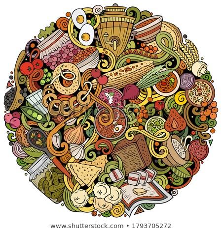 Сток-фото: русский · продовольствие · рисованной · вектора · иллюстрация