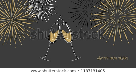 Foto stock: Background With Two Glasses Of Champagne And Fireworks