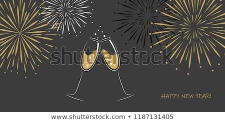 Foto stock: Dois · óculos · champanhe · fogos · de · artifício · ilustração · céu