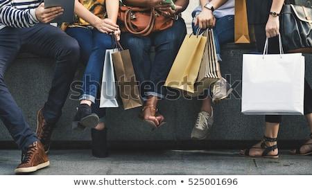 Vásárlás emberek szatyrok vétel vásár szett Stock fotó © robuart