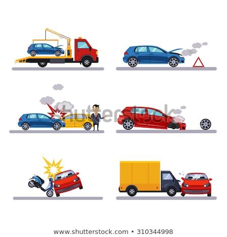 Autó csattanás baleset gyűjtemény ikon szett vektor Stock fotó © pikepicture