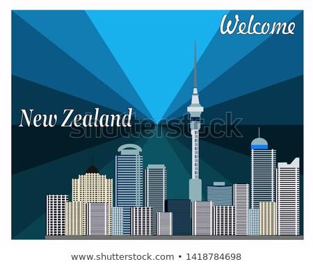 Wellington linha do horizonte azul edifícios reflexões Foto stock © ShustrikS