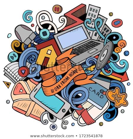 Karikatür vektör karalamalar evden çalışma örnek parlak Stok fotoğraf © balabolka