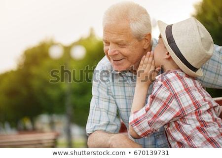 Dziadek wnuk mówić lata parku rodziny Zdjęcia stock © dolgachov
