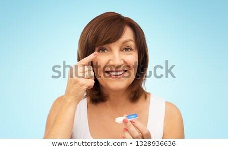 Senior mulher azul saúde Foto stock © dolgachov