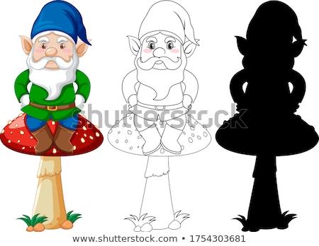 гном сидят гриб цвета силуэта Сток-фото © bluering