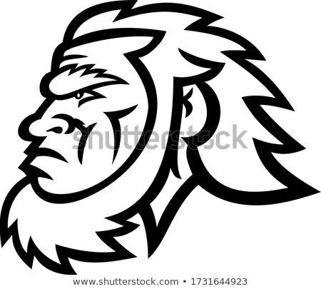 Caveman Head Side Black and White Stock photo © patrimonio
