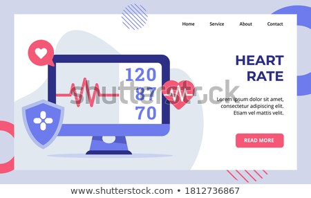 medical shield banner with cardiograph heart beat lines Stock photo © SArts