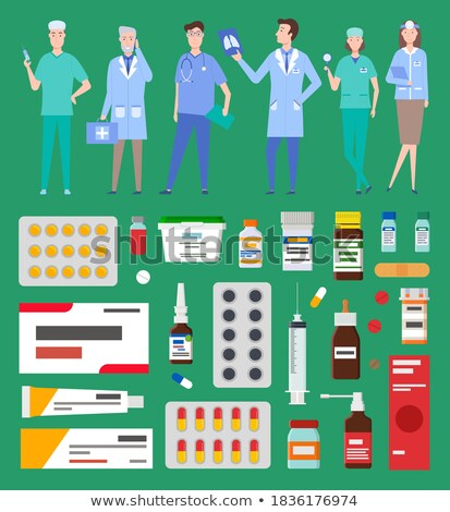 Medicine, pharmacy, hospital set of medicines in various forms. Medication, pharmaceutics concept Stock photo © robuart