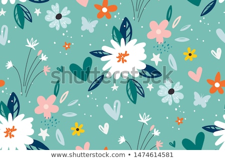 Green leaves and pink flowers seamless pattern Stock photo © Margolana