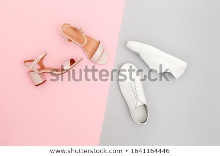 Női szandál gyönyörű rózsaszirmok fehér lány Stock fotó © iko