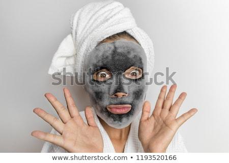 Cara máscara burbuja espuma funny mujer Foto stock © Maridav