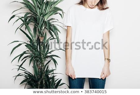 sensual · morena · mulher · vestido · branco · fundo · beleza - foto stock © konradbak