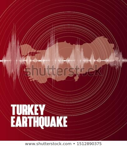 Turquia terremoto rachado parede de tijolos bandeira casa Foto stock © leedsn