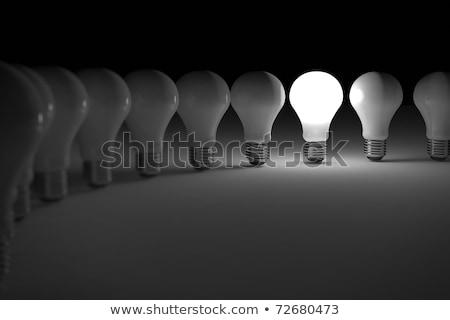 Foto d'archivio: One Lit Light Bulb Amongst Other Broken Light Bulbs