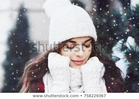 Schönen Winter Mädchen Vektor Set Hand gezeichnet Stock foto © glyph