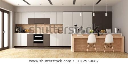 mutfak · mobilya · beyaz · duvar · dizayn · mavi - stok fotoğraf © jossdiim