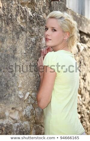 szőke · nő · kőfal · fal · természet · felirat - stock fotó © photography33