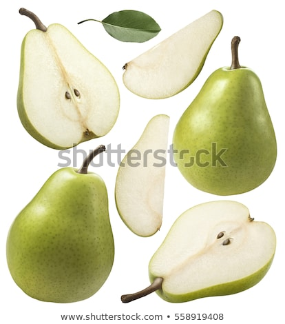 background of pear slices and green leaf stock photo © boroda