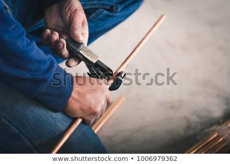 Foto stock: Fontanero · cobre · tubería · hombre · trabajo