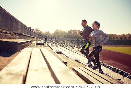 Pareja chándal sonrisa mujeres deportes ejercicio Foto stock © photography33