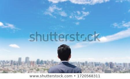 Stockfoto: Zakenman · hemel · business · handen · regen