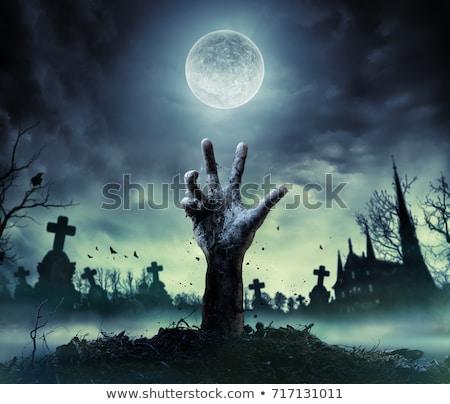 furcsa · kéz · mutat · ujj · felirat · sötét - stock fotó © sirylok