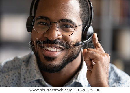 Face of virtual customer representative with a microphone Stock photo © experimental