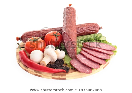 salsicha · legumes · vermelho · mão · jantar - foto stock © shutswis