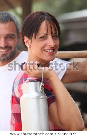 çiftçi eş süt kadın adam yaz Stok fotoğraf © photography33
