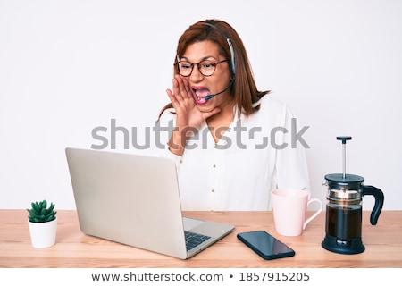 brunette wearing headset shouting Stock photo © photography33