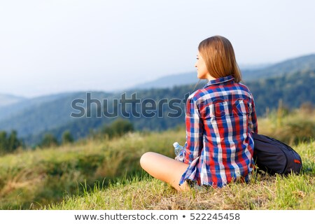 female camper with backpack looking in the distance Stock photo © photography33