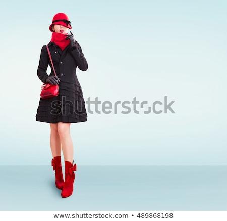 Cute meisje jas zwarte leggings Stockfoto © acidgrey