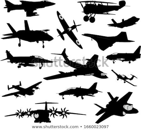 военных · самолета · силуэта · вектора · отражение · человека - Сток-фото © vadimmmus