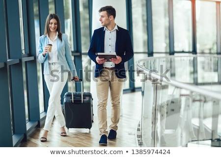 Işkadını bavul kahve iş moda Stok fotoğraf © wavebreak_media